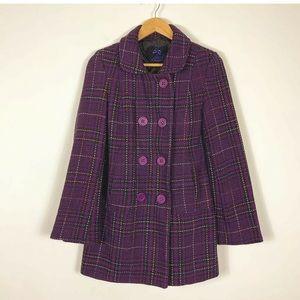 Jack BB Dakota Coat Plaid Tweed Double Breasted M